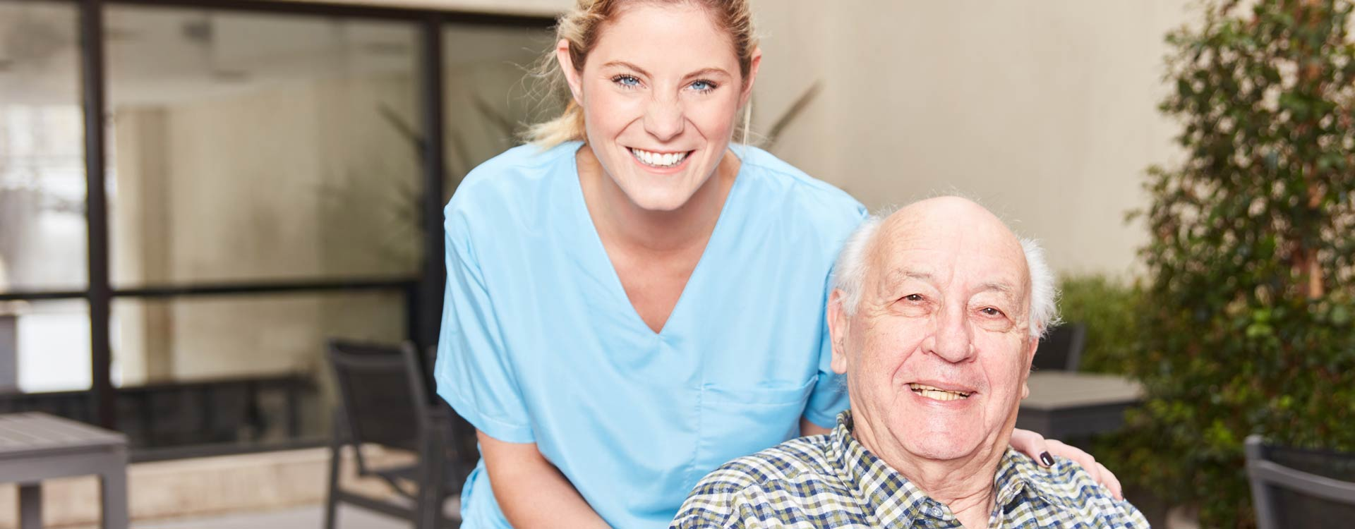 Sunny View - elderly resident with nurse
